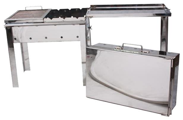 Мангал чемодан Старый Очаг нержавеющая сталь 500х300х500мм. 2 мм. с решеткой гриль - фото 5290