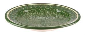 Тарелка плоская Риштанская Керамика 22 см. зеленая