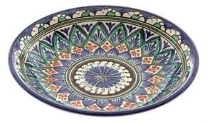 Тарелка глубокая Риштанская Керамика 19 см. синяя