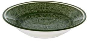 Тарелка глубокая Риштанская Керамика 19 см. зеленая