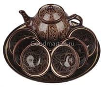 Набор чайный Риштанская Керамика, 9 предметов, коричневый